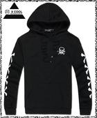 連帽T恤:E0013-街頭/運動風/骷髏/印花/連帽長袖T恤(2色)